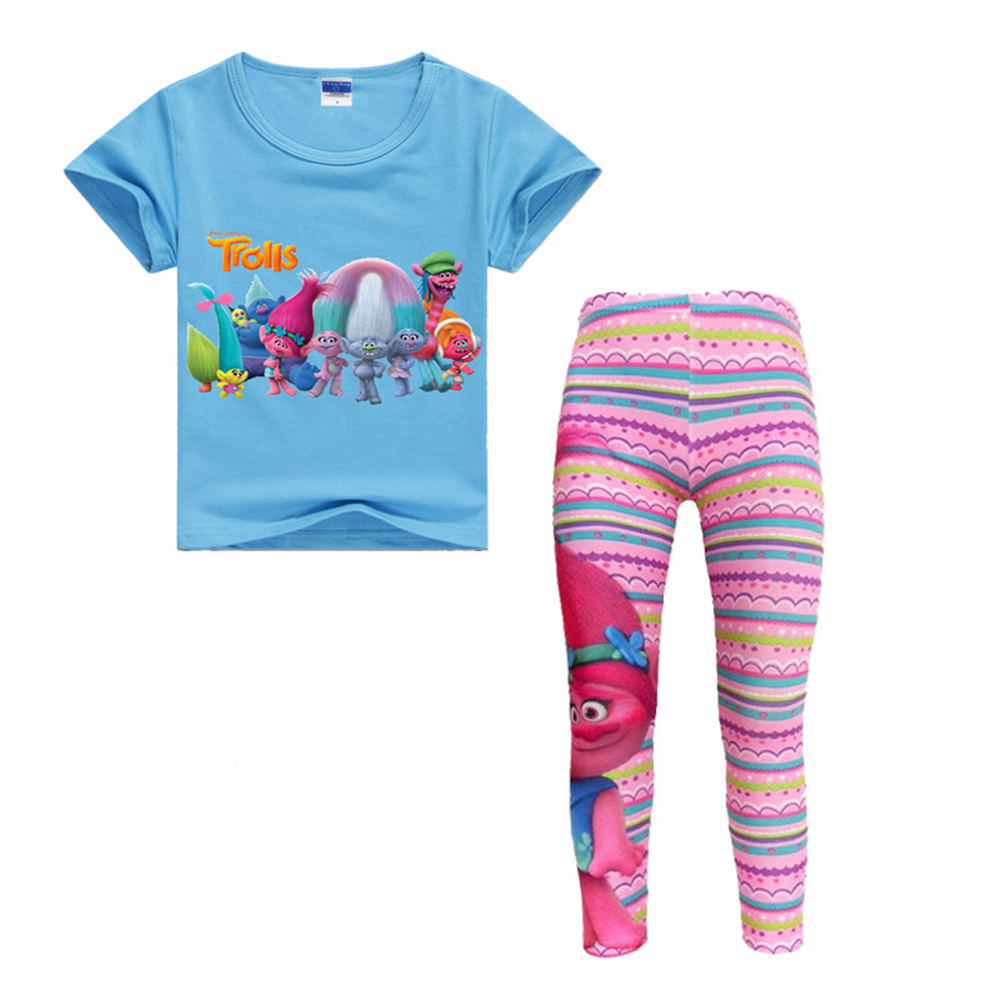 Children Trolls Short Sleeve T- shirts + Leggings Pants Clothing Set for Girls Soft Cotton Clothes Suits Summer Kids Bobby Shirt