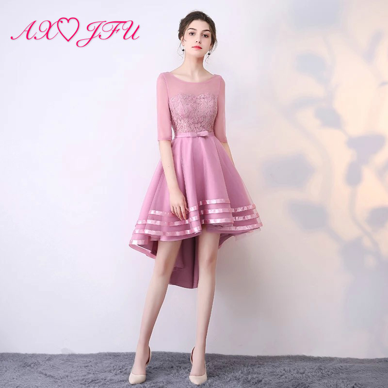 AXJFU Pink Lace Evening Dress Navy Blue Spring Summer New Host High/low Bow Champagne Evening Dress Fashion Little Black Dress