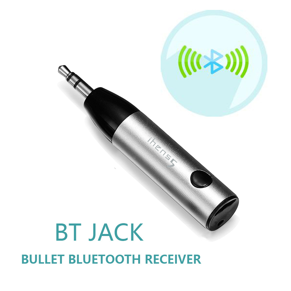 ihens5 mini trådløs Bluetooth bilmonteringssett håndfri 3,5 mm jack Bluetooth AUX audio mottaker adapter med mikrofon for høyttalertelefon