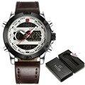 Novo naviforce relógios homens marca de luxo relógio digital de dupla afixação relógio de quartzo homem moda esporte militar relógio de pulso à prova d' água