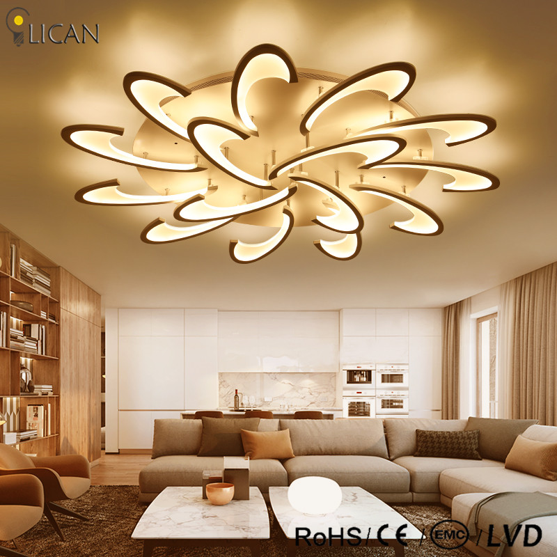 Square Led Ceiling Lights Living Room Bedroom Remote Control Lamparas De Techo Moderna Gold Coffee Frame Home Fixtures Ceiling Lights & Fans