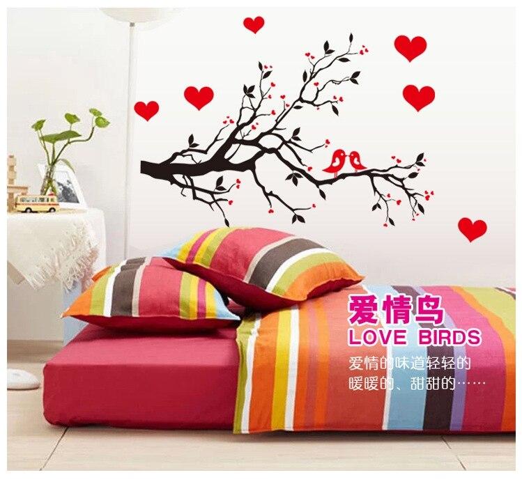 μαύρο κόκκινο αγάπη καρδιές πτηνά - Διακόσμηση σπιτιού - Φωτογραφία 3