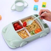 Fibra de palha trigo recipientes de alimentos para bebê infantil pratos treinamento conjunto alimentação do bebê forma carro tigela copo placas conjuntos crianças utensílios de mesa|Garrafas  frascos e caixas| |  -