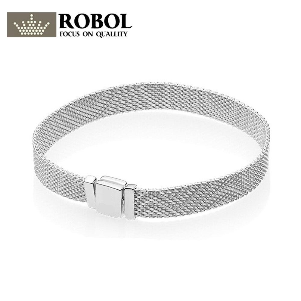 ROBOL 925 пробы серебро оригинальный пан Браслеты рефлексионы 597712 браслет ювелирные изделия Женский сетки цепи высокое качество 1:1 шаблон