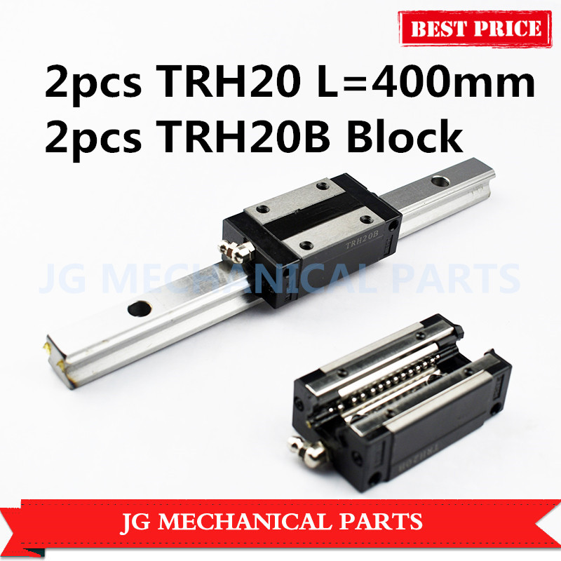 High Precision 20mm linear guide rail 2pcs TRH20 L=400mm with 2pcs TRH20B Square slide block for CNC Router Milling Machine 1 5kw 2 2kw cnc 6090 router engraving machine offline dsp controller system cnc milling machine linear guide rail trh20