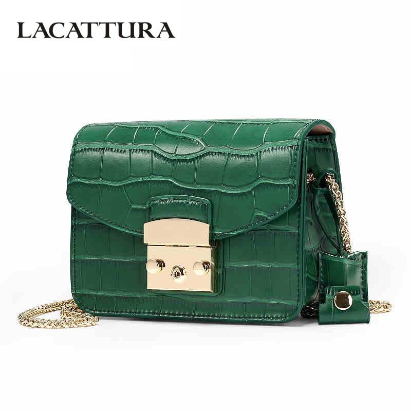 LACATTURA Women Split Crocodile Leather Handbags Chain Messenger Bags Ladies Flap Shoulder Bag Fashion Crossbody For