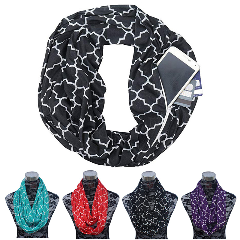 Imported From Abroad 2018 Women Winter Convertible Infinity Scarf With Pocket Loop Zipper Portable Scarf Pocket All Match Travel Journey Scarves
