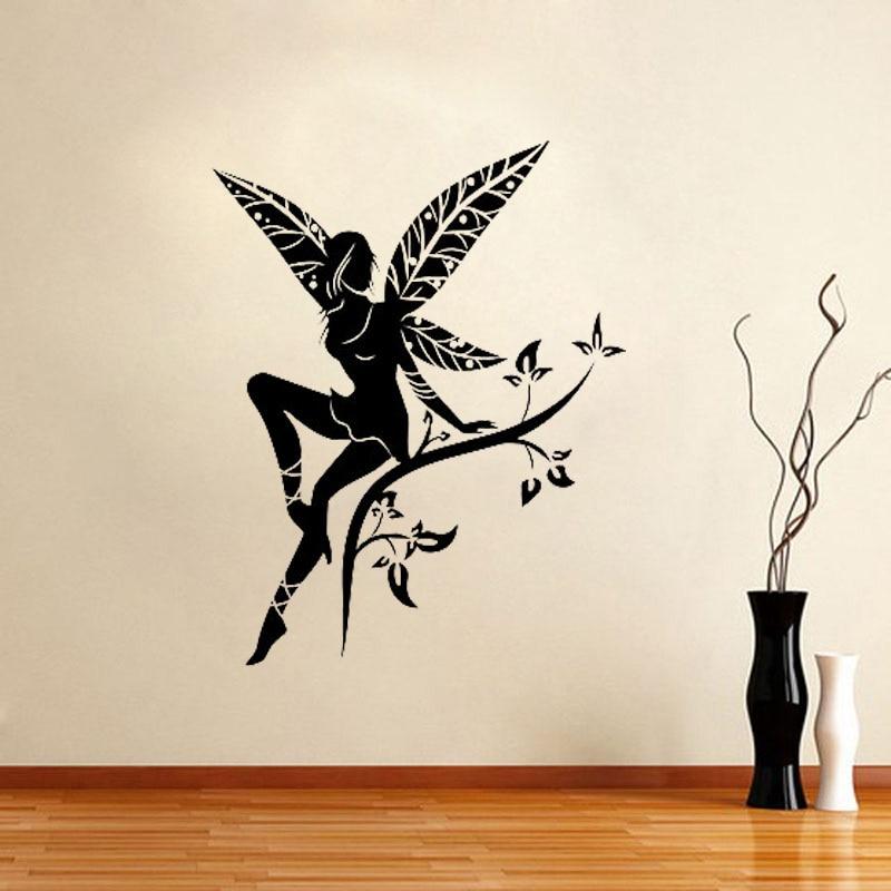 Wild Flower Fairy Tree Wings Wall Decal Sticker Transfer Stencil Mural Art Wall Stickers  Wall Decor For Nursery Kids Room L123