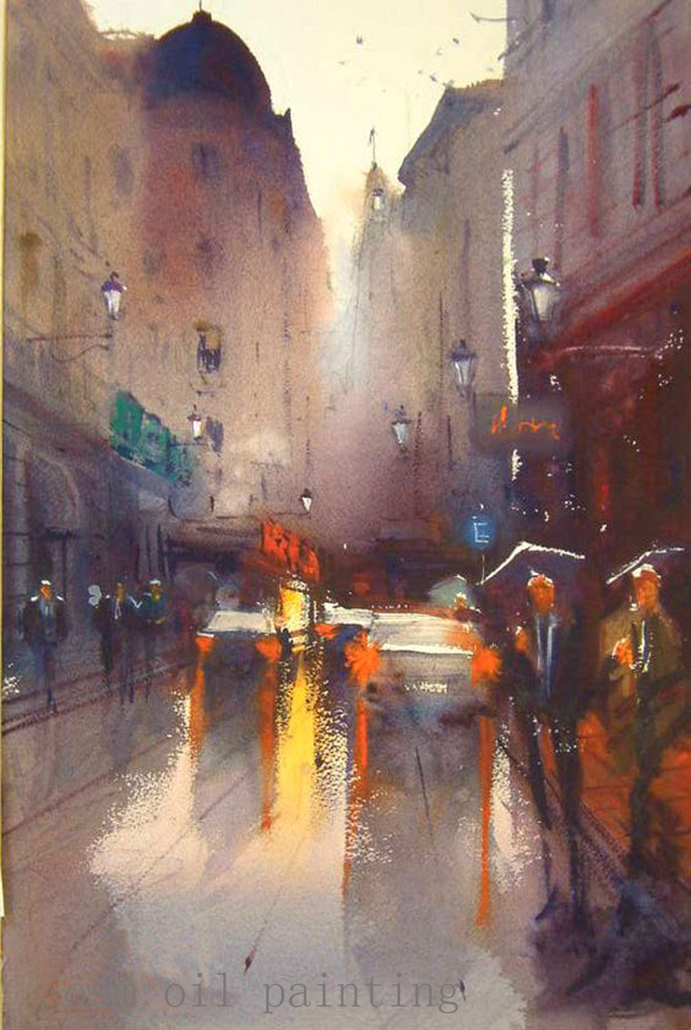 Hand Painted Abstract Modern City Street View Landscape