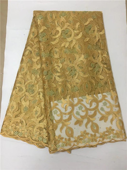 2019 Yellow High Quality African Tulle Lace Fabric Wholesale Stones French Net Lace Fabric For Nigeria Wedding Dress