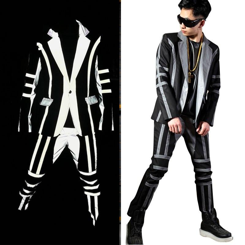 Tailor-made Men Reflective Stripe Splice Suit Sets Male Nightclub Fashion Hip Hop Singer Dancer Stage Wear Costumes