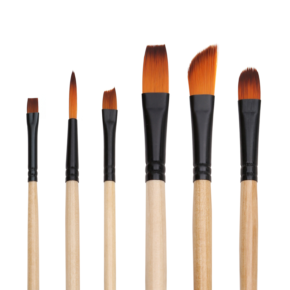 6pcs Premium Different Shape Round Pointed Tip Watercolor Paint Brush Set For Drawing Gouache Oil Painting Art Supplies In Brushes From Office