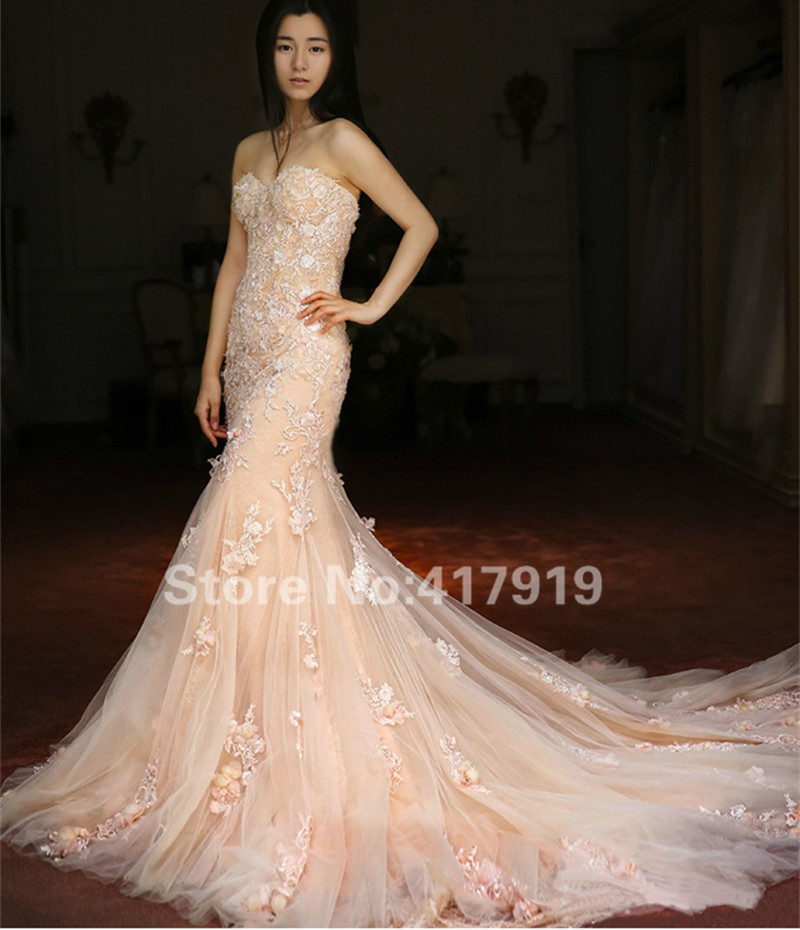 Popular champagne colored mermaid wedding dresses buy for Champagne color wedding dresses