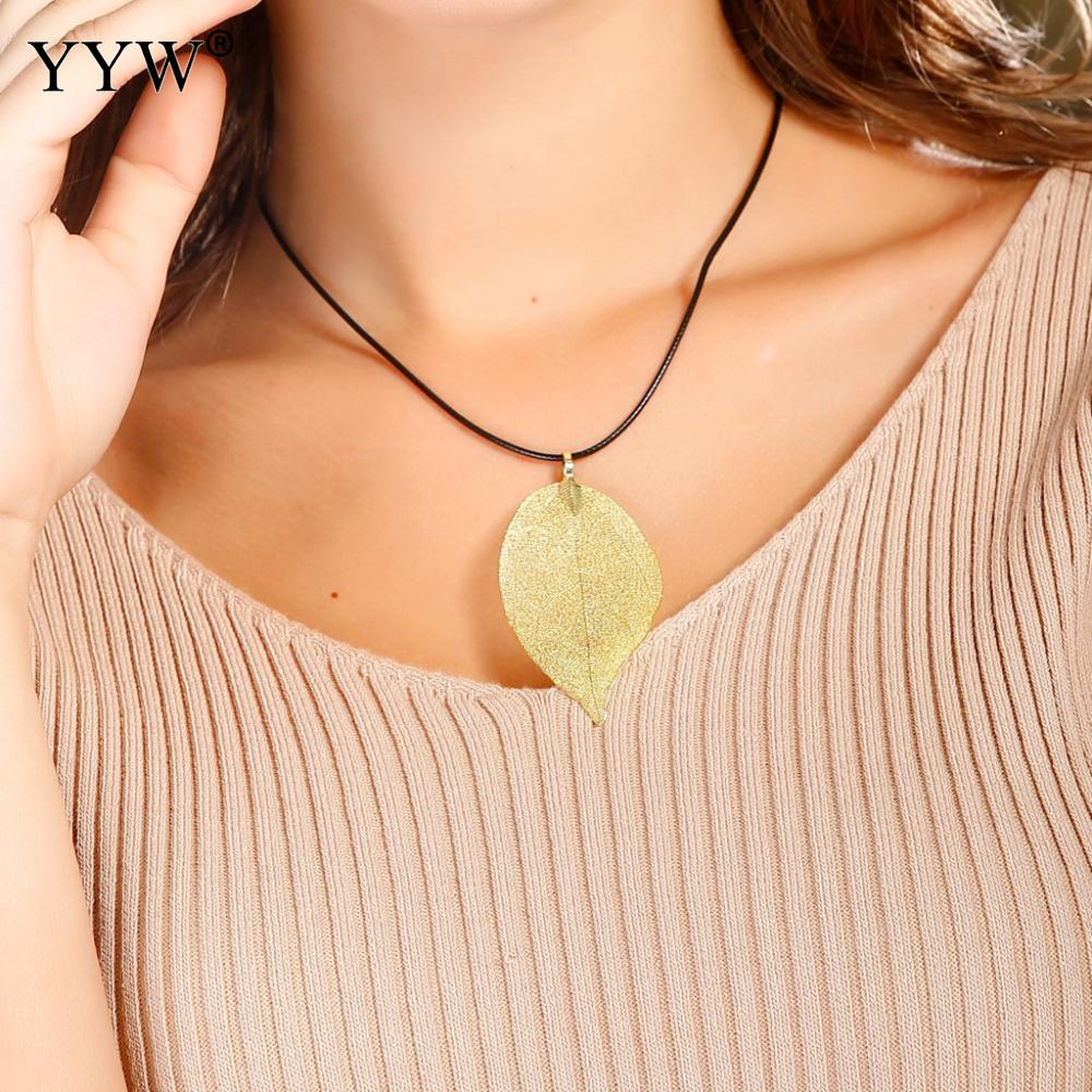 Real Leaf Pendant Nacklace Boho Jewelry Christmas Gift For Women Maxi Collier With Velvet Box Purple Blue Color Tree Leaf Charm