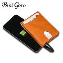 BISI GORO 2019 New Unisex Smart Wallet With USB Charging Wallet Adapt For Ipone And Android Type-C Capacity 4000 mAh 3 Colors
