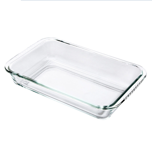 Image 1 - Clear Oblong Toughened Glass Baking Dishes Pan Oven Basics Plate Bakeware Non Stick Kitchen Tool Cheese Rice Tray
