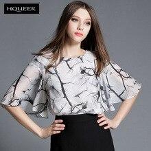 summer chiffon blouse batwing sleeve printed chiffon shirt