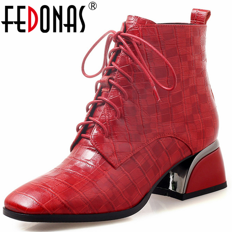 FEDONAS Fashion New Women Genuine Leather Ankle Boots Thick High Heels Autumn Winter Ladies Shoes Woman