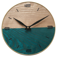 Creative 30cm Simple Wall Clock Vintage Retro Antique Style Solid Wood Textured Mute Hanging Clocks Home Decor 2018 New