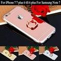 Обложка Для Apple iPhone 7 7 плюс 6 6 S 6 плюс зеркальный шкаф покрытие ТПУ Мягкая Задняя крышка Телефона чехол Для Samsung Note 7 с Кольцом Стенд