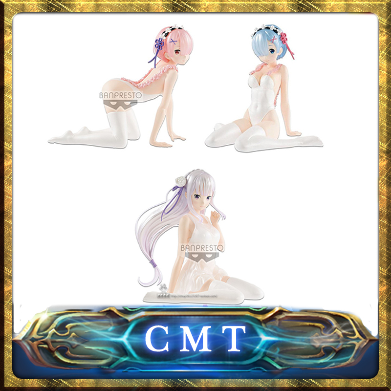 CMT In Stock Origianl Banpresto Re Zero Starting Life In Another World Emilia Ram Rem Anime PVC Toys Figure