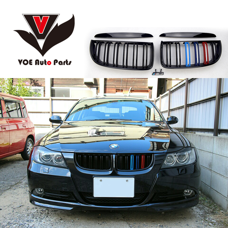 2005-2008 4PCS/Set Kidney ABS Plastic Gloss 3-Color E90 2-line Racing Grill Grille for BMW E90 3 Series(not fit for E90 M3) e70 black abs kidney racing grille for bmw 2007 2013 x5 series e70