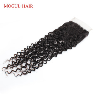Image 2 - Brazilian Jerry Curly Brazilian Hair 4x4 Lace Closure Hand Tied Natural Black Dark Brown Non Remy Human Hair Extension