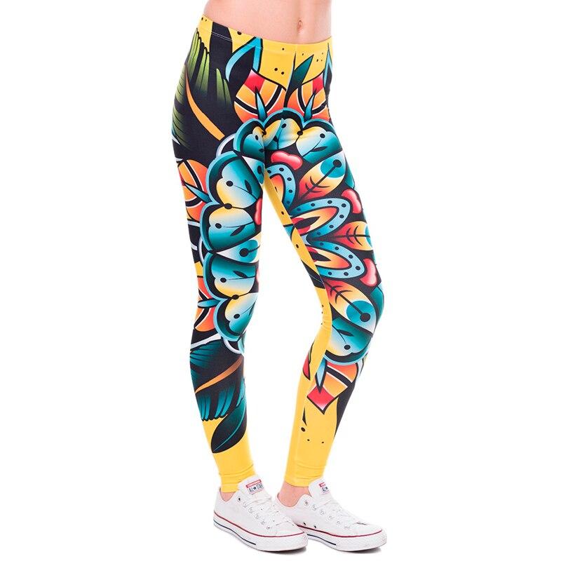 여성 3d 문신 꽃 레깅스 여성/소녀 재미 있은 스키니 레깅스 jeggings pants 기본 캐주얼 레깅스 여성 프리 사이즈 legg-에서레깅스부터 여성 의류 의  그룹 1