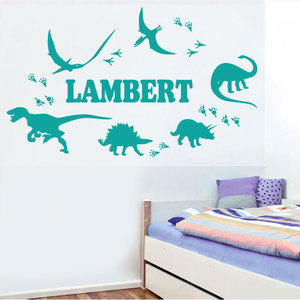 Image 1 - تخصيص اسم الجوراسي ديناصور جدار ملصقا الطفل طفل غرفة رياض الأطفال الديكور الفينيل جدار ديكور ورق حائط للمنزل DZ02