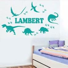 Konfigurowalny nazwa jurajski dinozaur naklejki ścienne dziecko dla dzieci pokój przedszkole dekoracji winyle dekoracje ścienne tapeta do domu DZ02