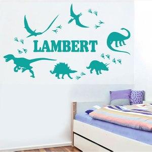 Image 1 - Konfigurowalny nazwa jurajski dinozaur naklejki ścienne dziecko dla dzieci pokój przedszkole dekoracji winyle dekoracje ścienne tapeta do domu DZ02