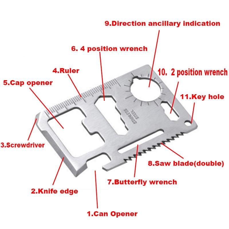 Pocket Tool Multifunction Knife Credit Edc Outdoor Bottle Survive Gear Card Multi Multipurpose Gadget Camp Opener Wallet Kit