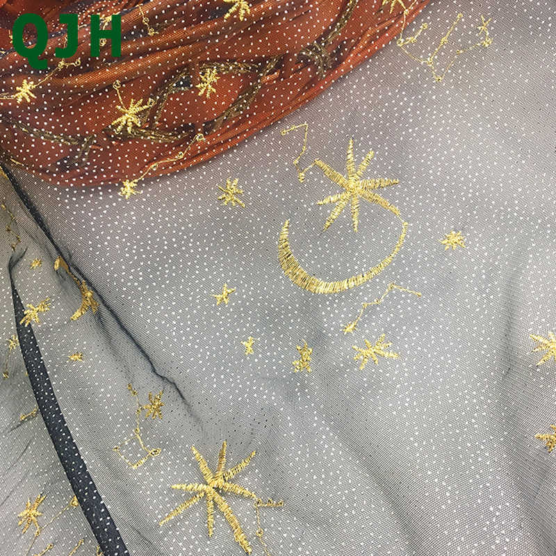 Sweet Party Starry-Sky tela de encaje hilo de oro bordado hilo de red transparente Flash vestido de noche hecho a mano telas de bricolaje red hilo