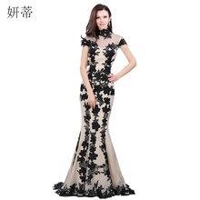 Zarif siyah kısa kollu Mermaid akşam elbise 2018 aplike şifon balo kıyafetleri Custom Made 100% gerçek görüntü şeffaf kıyafeti