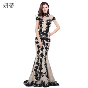 Elegant Black Short Sleeve Mermaid Evening Dress 2018 Applique Chiffon Prom Dresses Custom Made 100% Actual Image Sheer Gown(China)