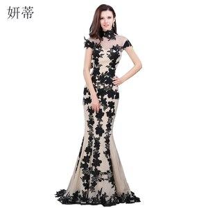 Image 1 - Vestido de noche de sirena de manga corta, negro elegante, apliques de gasa para baile de graduación, 100% a medida, imagen real, transparente, 2018