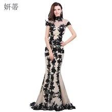 Élégant noir manches courtes sirène robe de soirée 2018 Applique mousseline de soie robes de bal sur mesure 100% Image réelle pure robe