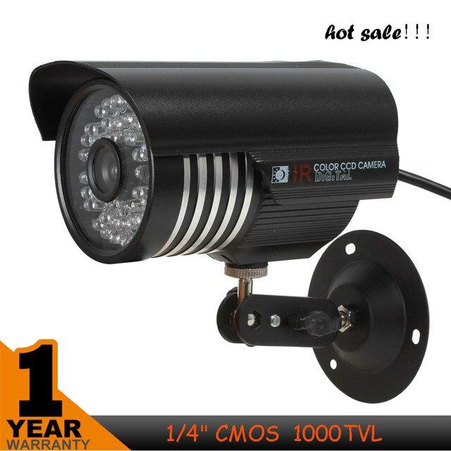 "1/4 ""CMOS 1000TVL 6 мм Объектив 36-LED NTSC/PAL ИК-Водонепроницаемая Камера Безопасности Пуля"