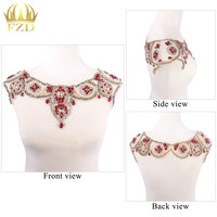 1 Piece Sewing on Crystal Beaded Heavy Gauze trims Patches Applique Rhinestone Trim for Wedding Bridal Collar Decoration