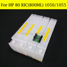 Large format for hp 80 refillable ink cartridge for hp80 designjet 1050 1055  1050ps with chip Decoder 5pcs compatible refillable ink cartridge with chip for ep stylus pro 9710 large format printer 9710 refillable ink cartridge