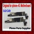 32 gb para o iphone 4s motherboard, 100% original & desbloqueado para iphone 4s mainboard com batatas fritas, frete grátis & bom estado de funcionamento