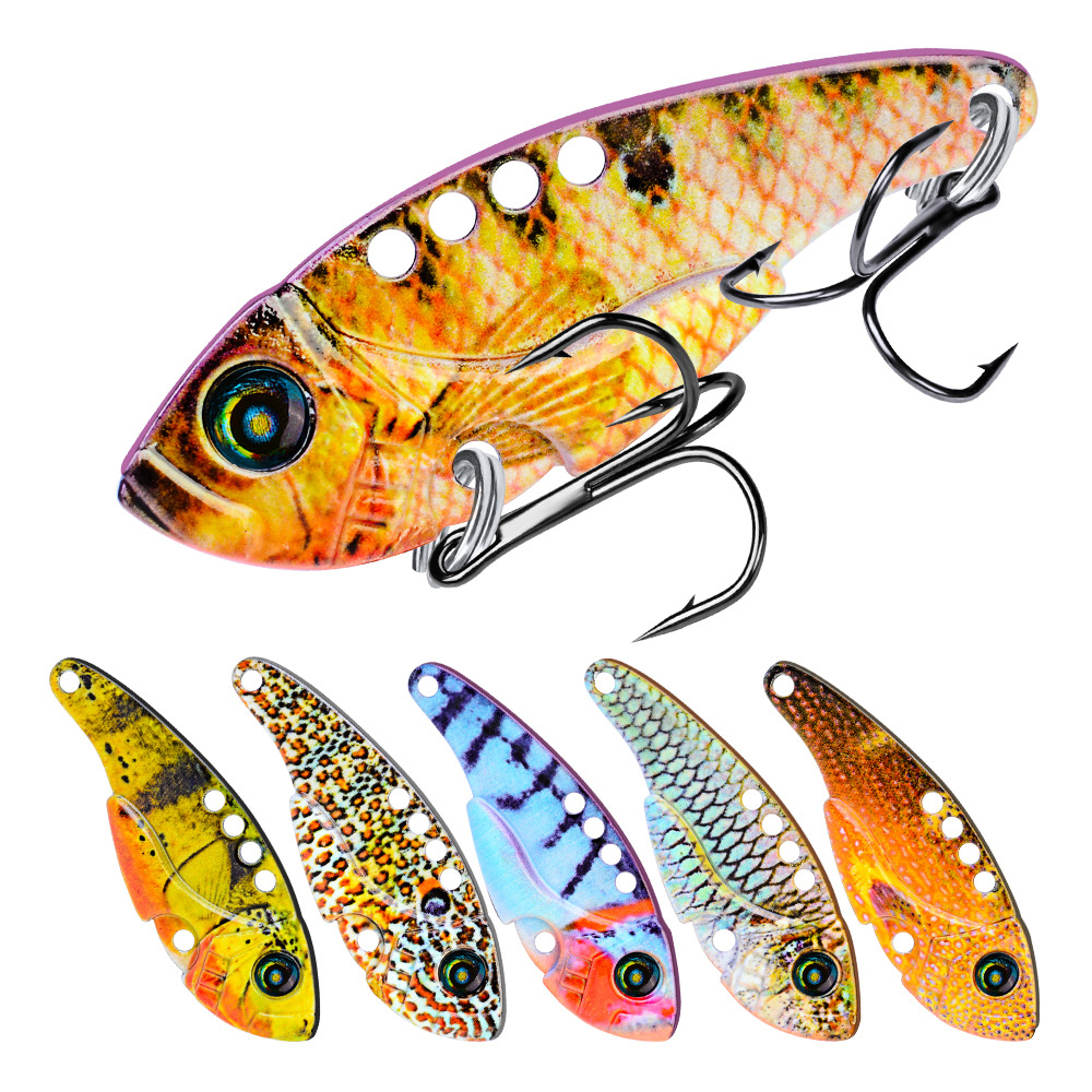 1pcs 3D Metal Vib Lures 11g 54mm Fishing Lure Vivid Vibrations Spoon Isca Hard Bait Bass Cicada Crankbait VIBE Wobbler Spinner