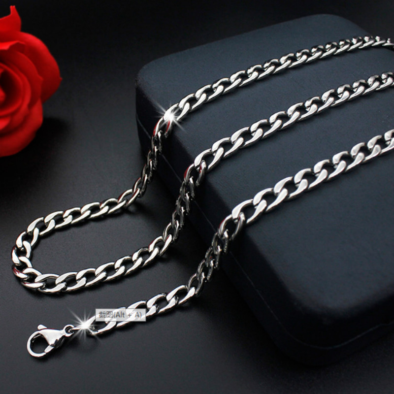 Stainless Steel Link Chain Necklace for Men Jewelry Pendant Accessories Male Necklace Party Collier Choker Necklace 50-60cm