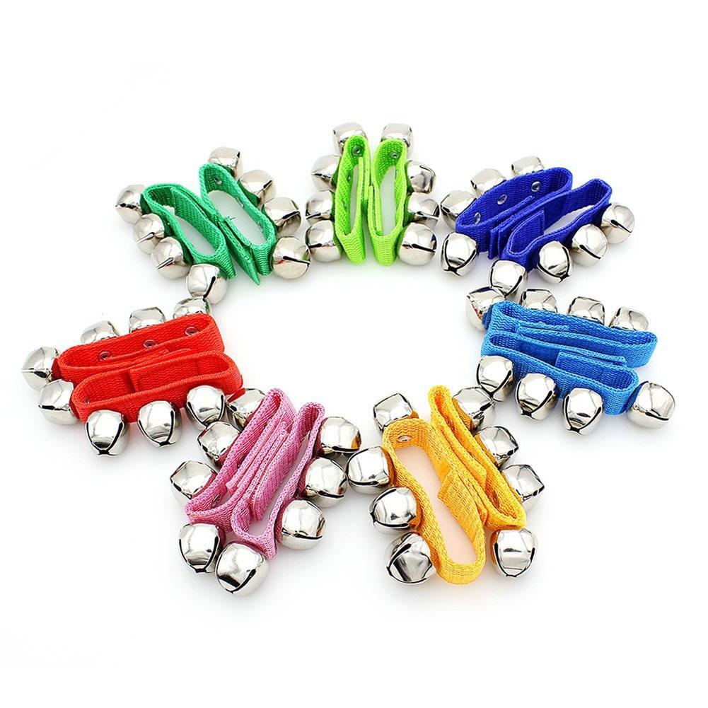 2 Pcs Metal Jingle Bells Bracelet Wrist Tambourine Fastener Tape Percussion Musical Toy Party KTV Kids Games Instruments Part