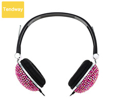 Bling Headphones Rhinestones Stereo Low Bass Noise Cancellation Headsets with Artificial Shiny Crystal for iPhone 6 plus SE