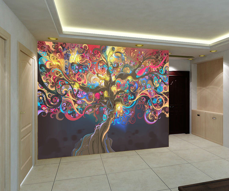 Tree Of Life Photo Wallpaper Psychedelic Wallpaper Custom 3D Wall Mural Art  Bedroom Bedroom Bar Shop Room Decor Natural Scenery In Wallpapers From Home  ... Part 14