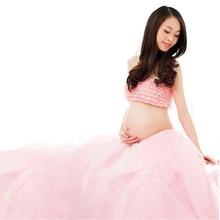2 Pcs Elegant Pink Maternity Dress Photography Props Pregnancy Clothes Maternity Dresses For pregnant Women Photo Shoot Clothing