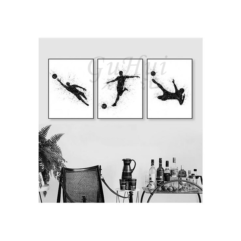 Modern watercolor sports soccer wall picture no frame Europe living ...