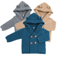 New Autumn Winter Sweaters Baby Boys Girls Cartoon Cardigan Ears Clothing Newborn Knitted Jackets Hooded Long