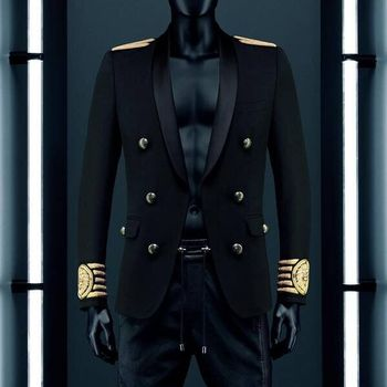 VogaIn 2016 New Fashion Limited Edition Man Black Blazer Double Breasted Gold Striped Embroidered Lion On Sleeve calf белая рубашка с объемными рукавами и вырезом
